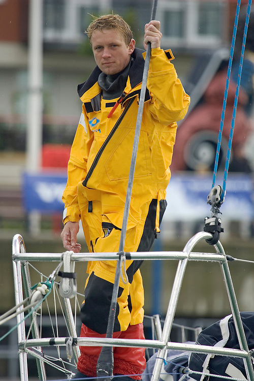 Bowman Andy Meiklejohn, bowman of Brasil 1 coming into dock in portsmouth after finishing  4th in Leg 7 of the Volvo Ocean Race 2005-6