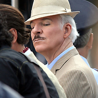 Pink Panther 2 being filmed in Boston,MA 's Copley Square. Here, Steve Martin is seen on the set. photo by Mark Garfinkel