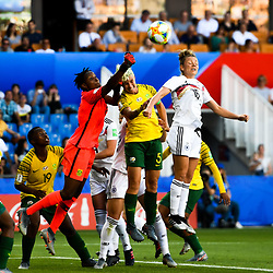 Andile Dlamini of South Africa and Linda Dallmann of Germany during the Women's World Cup match between Germany and South Africa at Stade de la Mosson on June 17, 2019 in Montpellier, France. (Photo by Alexandre Dimou/Icon Sport)