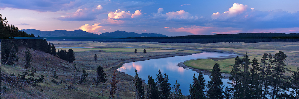 Evening light over Hayden Valley and the Yellowstone River in Yellowstone National Park, Wyoming. USA