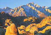 0671-1003 ~ Copyright: George H. H. Huey ~ Lone Pine Peak and the Sierra Nevada Mountains, seen from the Alabama Hills, at sunrise. Eastern Sierra Nevada, California.