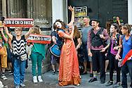 Roma 17 Luglio 2014<br /> Manifestazione contro gli sgomberi degli spazi occupati e autogestiti e contro lo sgombero dell'ex cinema Volturno, spazio sociale storico da oltre sei anni sede politica del Coordinamento Cittadino di Lotta per la Casa, e con il  teatro auto-gestito. I manifestanti davanti ex cinema Volturno sgomberato.<br /> Rome July 17, 2014 <br /> Demonstration against evictions of spaces occupied and self-managed and against the eviction of the former cinema Volturno, historical social space for over six years political headquarters of the Coordination of Urban Struggle for Housing,   and with the self-managed theater. Protesters in front of former cinema Volturno  closed