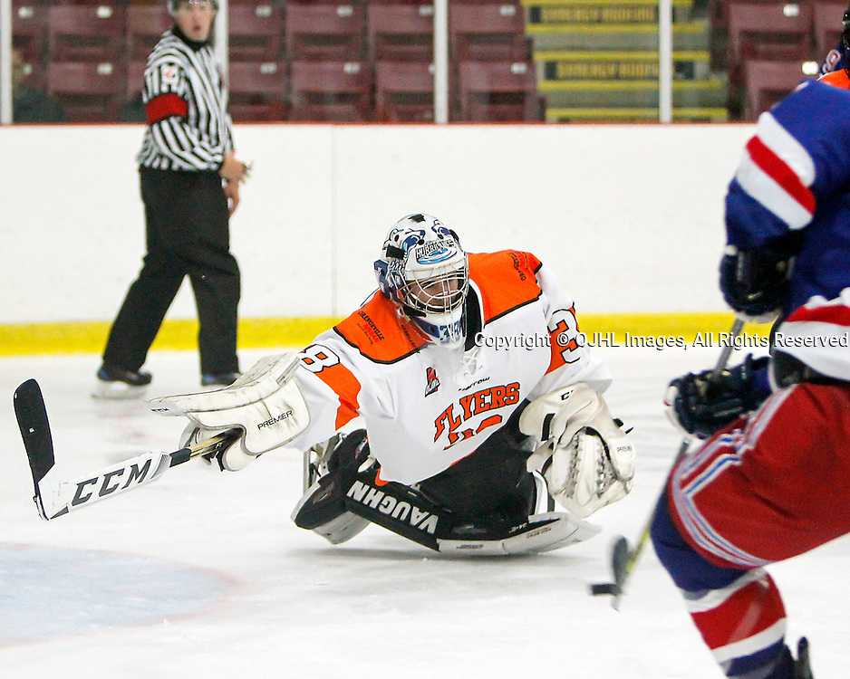 ORANGEVILLE, ON  - SEP 30,  2017: Ontario Junior Hockey League game between the North York Rangers and the Orangeville Flyers, Kristian Hufsky #38 of the Orangeville Flyers tries to make the eve during the third period.<br /> (Photo by Brian Watts / OJHL Images)