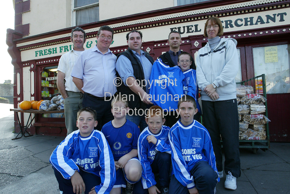 20/10/2003.Pictured at the presentation of new the new soccer kit to the Thomastown under ten soccer tam was back from left Pat Manning, Ignatius McComb, manager, Noel Somers, sponsor, Vernon Maloney, trainer Eoin Manning, captain and Bernie Byrne, Club Treasurer..Front from left Robert O Hanrahan, Darragh McComb, Thomas O Hanrahan and Gary Mason..Picture Dylan Vaughan