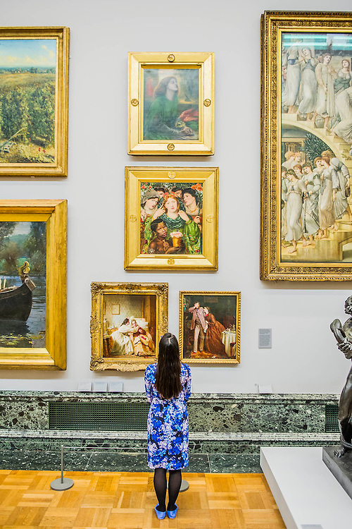 The return and re-hanging of the nation&rsquo;s Pre-Raphaelite works, including Millais&rsquo; Ophelia, to Tate Britain. They are going back on display from Thursday 7 August 2014 after being seen by over 1.1 million people worldwide. They include: John Everett Millais&rsquo; , Ophelia; Beata Beatrix  (pictured top) by Dante Gabriel Rossetti; The Lady of Shalott by John William Waterhouse; The Beloved by Rossetti (pictured middle); and Mariana by John Everett Millais. These works are being displayed in the 'grand' surroundings of the 1840 galleries as part of the BP Walk through British Art. <br /> Millbank,  London, UK.