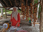 "Sept. 24, 2009 -- PATTANI, THAILAND: A Muslim woman sells longkong fruit, which is unique to Pattani, at a roadside stand in Pattani, Thailand. Thailand's three southern most provinces; Yala, Pattani and Narathiwat are often called ""restive"" and a decades long Muslim insurgency has gained traction recently and nearly 4,000 people have been killed since 2004. The three southern provinces are under emergency control and there are more than 60,000 Thai military, police and paramilitary militia forces trying to keep the peace battling insurgents who favor car bombs and assassination.    Photo by Jack Kurtz"