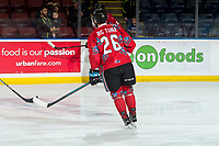 KELOWNA, CANADA - MARCH 9: Liam Kindree #26 of the Kelowna Rockets warms up on the ice against the Kamloops Blazers on March 9, 2019 at Prospera Place in Kelowna, British Columbia, Canada.  (Photo by Marissa Baecker/Shoot the Breeze)