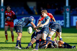 Cardiff Scrum-Half (#9) Lloyd Williams kicks from the breakdown during the second half of the match - Photo mandatory by-line: Rogan Thomson/JMP - Tel: Mobile: 07966 386802 21/10/2012 - SPORT - RUGBY - Cardiff Arms Park - Cardiff. Cardiff Blues v Toulon (RC Toulonnais) - Heineken Cup Round 2