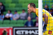 MELBOURNE, AUSTRALIA - APRIL 13: Melbourne City goalkeeper Eugene Galekovic (18) looks on during round 25 of the Hyundai A-League soccer match between Melbourne City FC and Adelaide United on April 13, 2019 at AAMI Park in Melbourne, Australia. (Photo by Speed Media/Icon Sportswire)