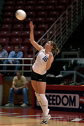 25 September 2004     Panthers Erin Hirsch serves.    Illinois State University Redbirds V University of Northern Iowa Panthers Volleyball.  Redbird Arena, Illinois State University, Normal IL