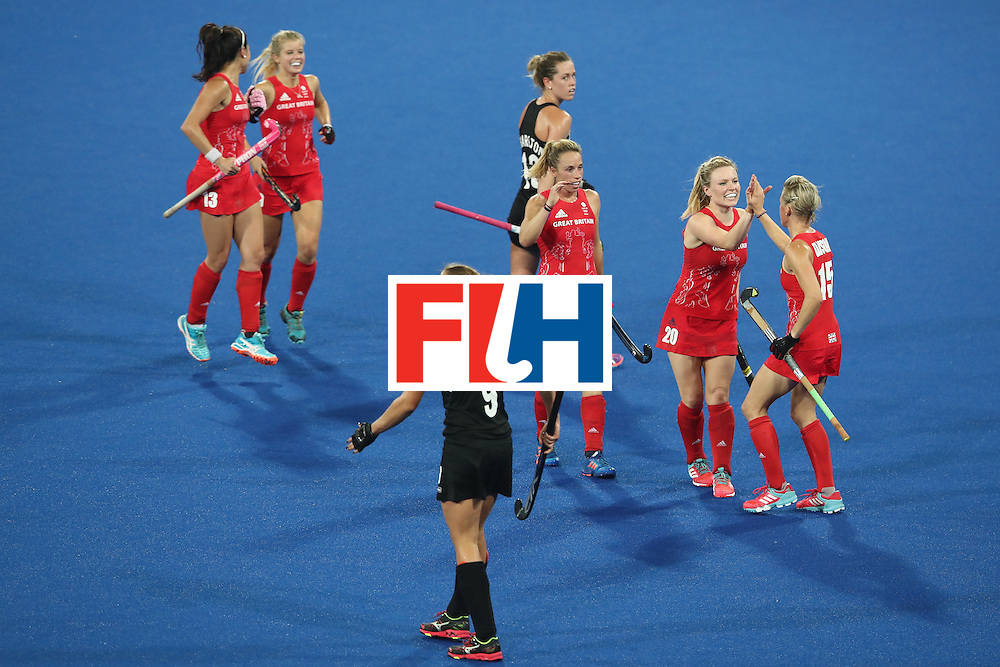 RIO DE JANEIRO, BRAZIL - AUGUST 17:  The Great Britain team celebrate a goal scored by Alex Danson of Great Britain during the womens semifinal match between the Great Britain and New Zealand on Day 12 of the Rio 2016 Olympic Games at the Olympic Hockey Centre on August 17, 2016 in Rio de Janeiro, Brazil.  (Photo by Mark Kolbe/Getty Images)