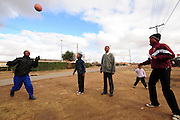 Locals playing street soccer in Rocklands a Township outside of Bloemfontein South Africa on 23 June 2009, during the 2009 Confederations cup in South Africa. Photo:Gerhard Steenkamp/Superimage Media