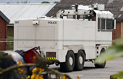 A police water cannon at Longmoor army camp in Hampshire with the number 001, Hampshire, UK, May 11, 2013. Photo by: Roger Allen / i-Images
