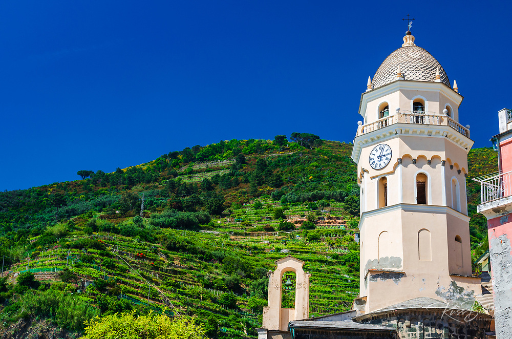 Santa Margherita di Antiochia Church and vineyards, Vernazza, Cinque Terre, Liguria, Italy