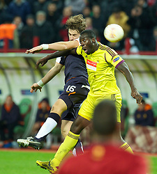MOSCOW, RUSSIA - Thursday, November 8, 2012: Liverpool's Sebastian Coates in action against FC Anji Makhachkala's Christopher Samba during the UEFA Europa League Group A match at the Lokomotiv Stadium. (Pic by David Rawcliffe/Propaganda)