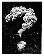 (An atomic mushroom cloud shaped like a question mark hangs over the Earth)