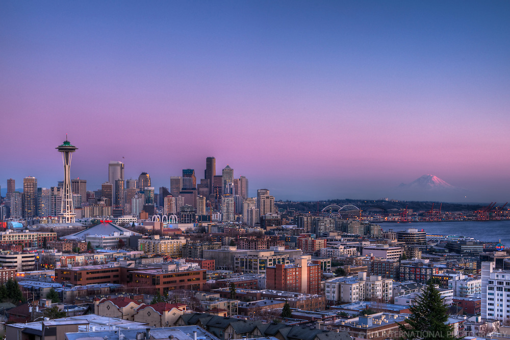 Downtown Seattle & Mount Rainier @ Dusk