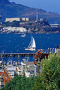 Image of San Francisco, California with sailboats in bay and Alcatraz Island