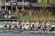 Henley, GREAT BRITAIN,  Men's lightweight race at the 2012 Henley Boat Races, left, Berks station Cambridge and Oxford on the Bucks station.    Henley on Thames, England, Sunday  25/03/2012. [Mandatory Credit, Peter Spurrier/Intersport-images..Crews CULRC.Blue Boat.Bow: James Wedlake, 2: Martin Kubie, 3: Simon Morris, 4: Matthew White, 5: Charles Pitt-Ford, 6: Piran Tedbury, 7: Rupert Price, Stroke: Nicolas Kernick, ..OULRC.Blue Boat.Bow: Richard Watson, 2: Ed Lent, 3: Jasper Warner, 4: James Thom, 5: Till Hackler, 6: Till Wirth, 7: Ben Walpole, Stroke: Tyler Spencer, Cox: Victoria Stulgis.