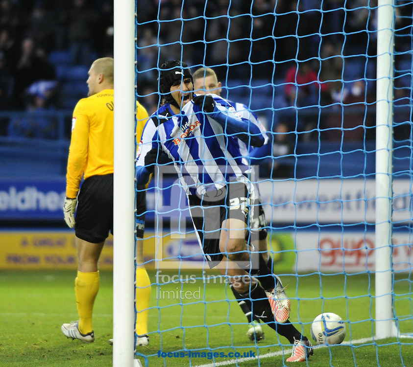 Picture by Richard Land/Focus Images Ltd +44 7713 507003.03/11/2012.Miguel Llera of Sheffield Wednesday celebrates scoring the winner during the npower Championship match at Hillsborough, Sheffield.