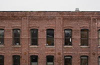 Rooftop view of redbrick buildings in DUMBO Brooklyn New York