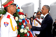 HAVANA, March 20, 2016 <br /> <br /> President Obama Visits Cuba<br /> <br />  U.S. President BARACK OBAMA (R), lays a wreath at the Jose Marti Memorial at Revolution Square. Obama on Monday paid tribute to Cuban national hero Jose Marti before meeting with Cuban President Raul Castro in Havana.<br /> ©Exclusivepix Media