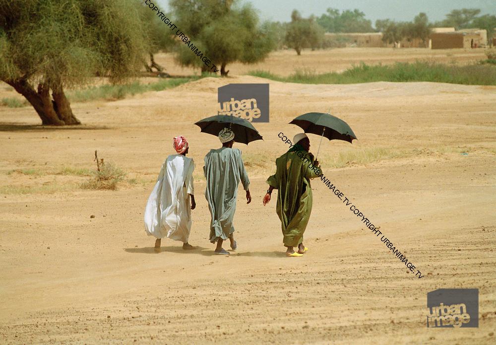 Walking home - Mid-day Sun Landscape - Podor Senegal - multi image
