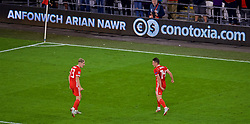 CARDIFF, WALES - Thursday, September 6, 2018: Wales' Connor Roberts celebrates scoring the fourth goal during the UEFA Nations League Group Stage League B Group 4 match between Wales and Republic of Ireland at the Cardiff City Stadium. (Pic by Laura Malkin/Propaganda)