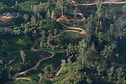 Tea estates from the air. Hill country. Sri Lanka