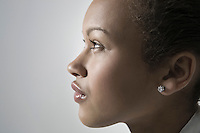 Close-up view of young woman profile