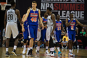 Kristaps Porzingis #46 of the New York Knicks takes the court against the San Antonio Spurs during an NBA Summer League game in Las Vegas, Nevada on July 11, 2015. (Cooper Neill for The New York Times)