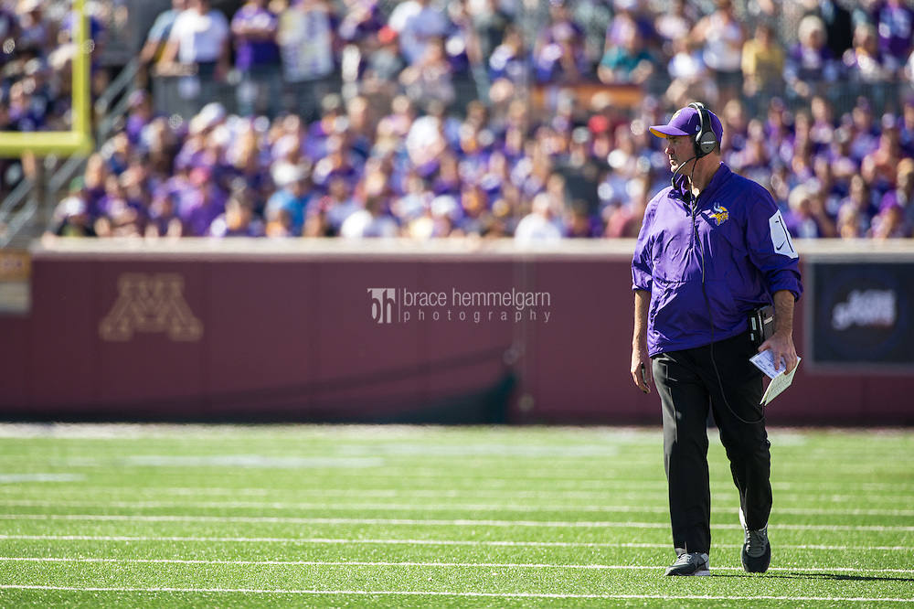 Sep 27, 2015; Minneapolis, MN, USA; Minnesota Vikings head coach Mike Zimmer looks on during the third quarter against the San Diego Chargers at TCF Bank Stadium. The Vikings defeated the Chargers 31-14. Mandatory Credit: Brace Hemmelgarn-USA TODAY Sports