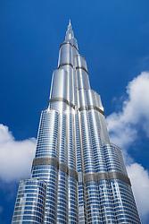 View of Burj Khalifa skyscraper in Dubai United Arab Emirates