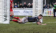 Matt Hawke of London Scottish crosses the tryline during the Green King IPA Championship match between London Scottish &amp; Bristol at Richmond, Greater London on 7th February 2015<br /> <br /> Photo: Ken Sparks | UK Sports Pics Ltd<br /> London Scottish v Bristol, Green King IPA Championship, 7th February 2015<br /> <br /> &copy; UK Sports Pics Ltd. FA Accredited. Football League Licence No:  FL14/15/P5700.Football Conference Licence No: PCONF 051/14 Tel +44(0)7968 045353. email ken@uksportspics.co.uk, 7 Leslie Park Road, East Croydon, Surrey CR0 6TN. Credit UK Sports Pics Ltd
