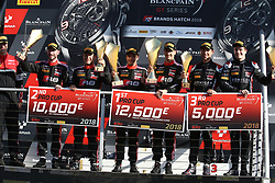 May 7, 2018 - Brands Hatch, Grande Bretagne - 17 BELGIAN AUDI CLUB TEAM WRT (BEL) AUDI R8 LMS STUART LEONARD (GBR) FREDERIC VERVISCH (BEl) WINNERS OF THE SECOND RACE #1 BELGIAN AUDI CLUB TEAM WRT (BEL) AUDI R8 LMS ALEX RIBERAS (ESP) CHRISTOPHER MIES (DEU) SECOND OF THE SECOND RACE #66 ATTEMPTO RACING (DEU) AUDI R8 LMS STEIJN SCHOTHORST (NDL) KELVIN VAN DER LINDE (ZAF) THIRD OF THE SECOND RACE (Credit Image: © Panoramic via ZUMA Press)
