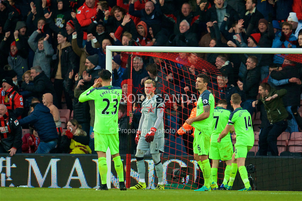 BOURNEMOUTH, ENGLAND - Sunday, December 4, 2016: Liverpool's goalkeeper Loris Karius looks dejected as AFC Bournemouth's Nathan Ake scores a late fourth goal to win the match 4-3 during the FA Premier League match at Dean Court. (Pic by David Rawcliffe/Propaganda)