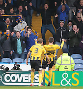 Shrewsbury Town striker Bobby Grant scores to make it 1-0 to Shrewsbury  during the Sky Bet League 2 match between Portsmouth and Shrewsbury Town at Fratton Park, Portsmouth, England on 28 March 2015.