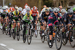 Shelley Olds tucks down, sheltered from the wind - Women's Gent Wevelgem 2016, a 115km UCI Women's WorldTour road race from Ieper to Wevelgem, on March 27th, 2016 in Flanders, Netherlands.