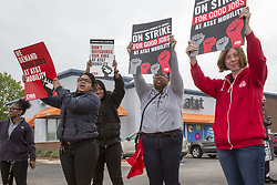 May 19, 2017 - Roseville, Michigan, U.S. - Roseville, Michigan USA - 19 May 2017 - Forty thousand workers at AT&T Mobility, which provides wireless service to 134 million people, began a three-day strike to protest the lack of progress in contract negotiations. Job security is a key issue: the company wants to outsource jobs or send them overseas. (Credit Image: © Jim West via ZUMA Wire)