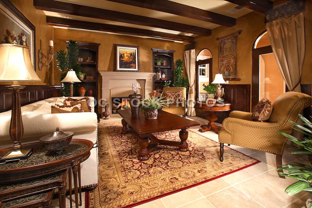 Custom Interior Design Living Room In Rich Warm Wood Tones