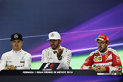 Formel 1: GP von Mexiko 2016 - Rennen in Mexiko-Stadt / 301016<br /> <br /> ***The FIA Press Conference (L to R): Nico Rosberg (GER) Mercedes AMG F1, second; Lewis Hamilton (GBR) Mercedes AMG F1, race winner; Sebastian Vettel (GER) Ferrari, third.<br /> 30.10.2016. Formula 1 World Championship, Rd 19, Mexican Grand Prix, Mexico City, Mexico, Race Day.<br />  Copyright: Bearne / XPB Images / action press ***