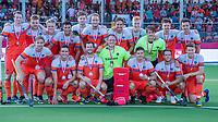 ANTWERPEN -  Het Nederlands team na  de troostfinale mannen om de derde plaats, Duitsland-Nederland (0-4) ,  bij het Europees kampioenschap hockey. voorste rij vlnr: Mirco Pruijser (Ned) , Jonas de Geus (Ned) , Sander Baart (Ned) , keeper Pirmin Blaak (Ned)  , Sander de Wijn (Ned) , Jeroen Hertzberger (Ned) , Jelle Galema (Ned) . achter vlnr: Seve Ass (Ned) , Mink van der Weerden (Ned) , Jip Janssen (Ned) , Glenn Schuurman (Ned) , Lars Balk (Ned) , Billy Bakker (Ned) , Bjorn Kellerman (Ned) , Joep de Mol (Ned) , keeper Sam van der Ven (Ned)  , Thierry Brinkman (Ned) en Diede van Puffelen (Ned).  COPYRIGHT KOEN SUYK