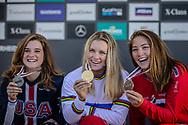 Junior Women Downhill Podium positions: 2nd Anna Newkirk (USA); 1st Valentina Holl (AUT); 3rd Mille Johnset (NOR) at the 2018 UCI MTB World Championships - Lenzerheide, Switzerland