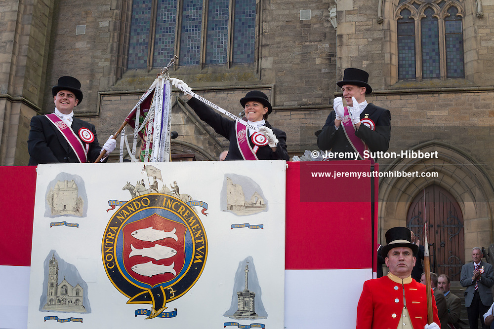 The installation of the Cornet at the Old Parish Church steps, at The Peebles Beltane Festival, including their Common Riding of the Marches, with Cornet Daniel Williamson, and Cornets Elect Lass Susan Thomson, in Peebles, Scotland, Wednesday 19th June 2013. <br /> N55&deg;39.074'<br /> W3&deg;11.537'