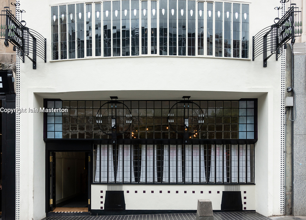 Exterior of facade of renovated Lunch and Tearooms , formerly Willow Tea Rooms, designed by Charles Rennie Mackintosh on Sauchiehall Street, Glasgow, Scotland, UK
