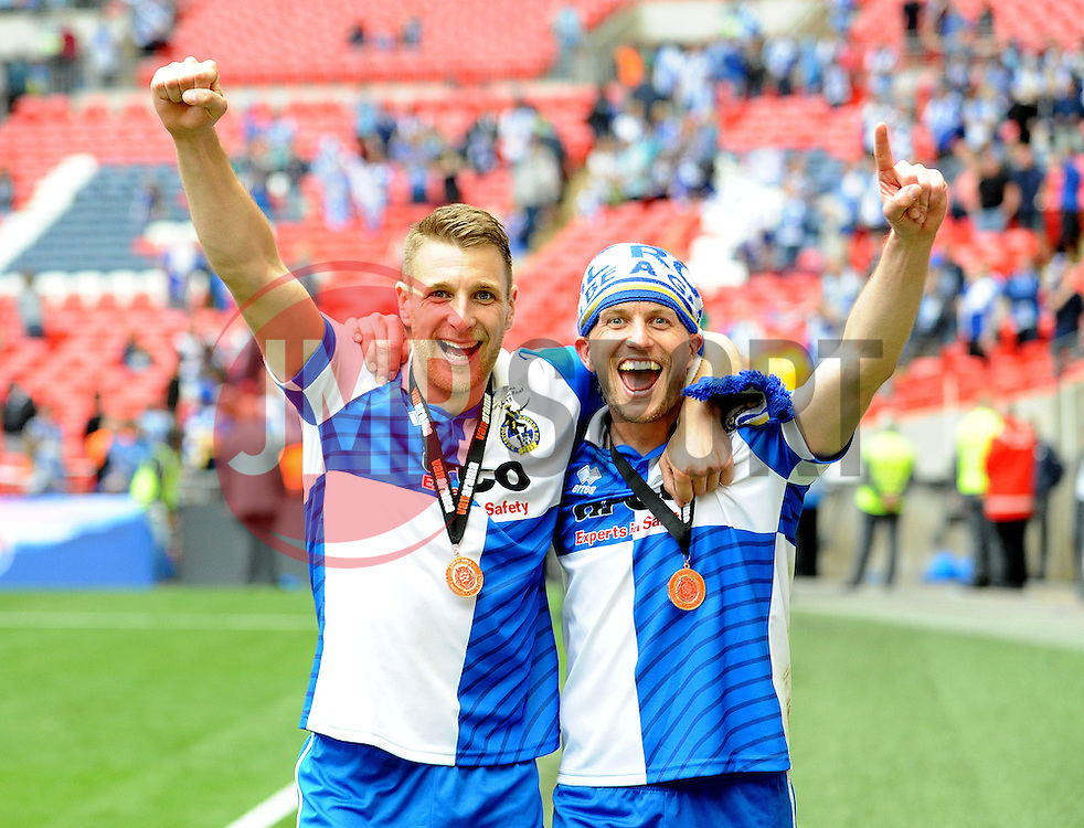 Bristol Rovers' Lee Brown and Bristol Rovers' Lee Mansell - Photo mandatory by-line: Neil Brookman/JMP - Mobile: 07966 386802 - 17/05/2015 - SPORT - football - London - Wembley Stadium - Bristol Rovers v Grimsby Town - Vanarama Conference Football