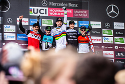 Charlie Harrison of USA, Danny Hart of Great Britain, Loic Bruni of France, Troy Brosnan of Australia and Matt Walker of Great Britan during trophy ceremony at  Mercedes-Benz UCI Mountain Bike World Cup competition final day in Bike Park Pohorje, Maribor on 28th of April, 2019, Slovenia.  . Photo by Grega Valancic / Sportida