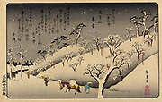 Lingering snow at Asukayama, 1838. Utagawa Hiroshiga (1797-1858) Japanese Uukiyo-e artist. Snow-covered hillside dotted with trees and shrines, in foreground pedestrians, one leading a horse, struggle towards buildings.   Landscape