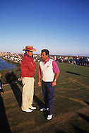 Dave StocktonBernard GallacherNon-playing captains on the 17th tee<br /> The 29th Ryder Cup Matches were held September 27&ndash;29, 1991, on The Ocean Course at Kiawah Island Golf Resort in Kiawah Island, South Carolina, southwest of Charleston<br /> <br /> The United States team won the competition by 14&frac12; to 13&frac12; points, <br />  Ryder Cup for Europe<br /> <br /> Picture Credit:  Mark Newcombe / www.visionsingolf.com