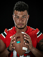 UM quarterback Malik Rosier with head coach Mark Richt as they pose for a photograph at the University of Miami Schwartz Center for Athletic Excellence on Thursday, August 9, 2018.